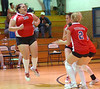 Twin Springs Lady Titans celebrate the first game victory in the match against Rye Cove. Photo by Ned Jilton II