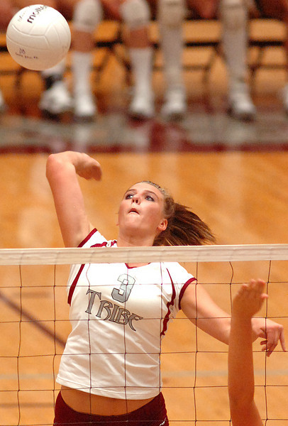 #3 Megan Devine of Dobyns Bennett goes up for smash during Big 9 Jamboree. Photo by Ned Jilton II