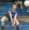 Gate City's Brittany Simpson, #20, eyes ball that had been hit deep into court during playoff against Radford. Photo by Ned JIlton II