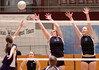 D-B's Hillary Gray, #13, and Meredith Hardy, #9, attempts to block shot by Sullivan South's Krista Reed, #4. Photo by ned Jilton II