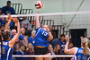 Gate City's #13, Ashley Carter, goes up for smash between Auburn's #8 Breanna Nichols, and #12 Katie Hudak. Photo by Ned Jilton II