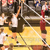 Star Photo/Larry N. Souders<br /> The Lady Cyclones' Cassidee Ray (7) pushes a dink shot back over the net against Science Hill Monday night.