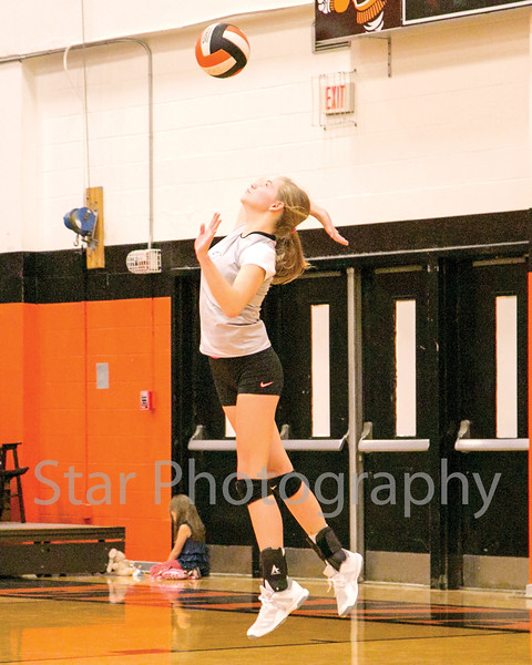 Star Photo/Larry N. Souders<br /> Elizabethton's Morgan Smith (11) fires off a serve in game two Monday night.