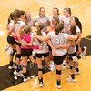 Star Photo/Larry N. Souders<br /> Elizabethton head coach Leslee Bradley (C) gives a pep talk to the Lady Cyclones prior to match their against Science Hill Monday night.
