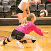Star Photo/Larry N. Souders<br /> Elizabethton's Mary Beth Biggs (42) gets low to the ground to return a serve.