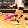 Star Photo/Larry N. Souders<br /> Elizabethton's Mary Beth Biggs (42) digs deep getting her hand under the ball to save a point for Lady Cyclones.