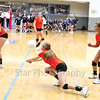 Star Photo/Larry N. Souders<br /> The Lady Cyclone's Morgan Smith (11) digs deep to save a serve against the Lady patriot's of Sullivan East.