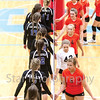 Star Photo/Larry N. Souders<br /> A victorious Lady Cyclone team congratulates Unicoi on a great game.