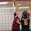 Record-Eagle/Jan-Michael Stump<br /> Charlevoix's Karley Pearsall (11) spikes the ball over Houghton's Blaire Zenner (5) in the Class C quarterfinals Tuesday in Charlevoix.
