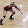 Record-Eagle/Jan-Michael Stump<br /> Charlevoix's Kelsey Way (7) bumps the ball against Houghton in the Class C quarterfinals Tuesday in Charlevoix.