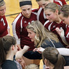 Record-Eagle/Jan-Michael Stump<br /> Charlevoix coach Liz Shaw talks to her team during a timeout in Tuesday's Class C quarterfinal win over Houghton.