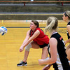 Record-Eagle/Jan-Michael Stump<br /> East Jordan's McKenna Steltzner (10) bumps the ball during Wednesday's loss at Traverse City St. Francis.