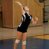 Record-Eagle/Jan-Michael Stump<br /> East Jordan's Valerie Peters (2) serves during Wednesday's loss at Traverse City St. Francis.
