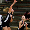 Record-Eagle/Jan-Michael Stump<br /> East Jordan's Lindsey Graham (7) spikes the ball during Wednesday's loss at Traverse City St. Francis.