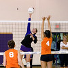 Record-Eagle/Keith King<br /> Leland's Elizabeth McKee hits the ball against Kingsley Tuesday, October 11, 2011 at Leland High School.