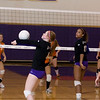 Record-Eagle/Keith King<br /> Leland's Samantha Sterkenburg hits the ball against Kingsley Tuesday, October 11, 2011 at Leland High School.