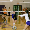 Record-Eagle/Keith King<br /> Leland's Hanna Schaub prepares to hit the ball against Kingsley Tuesday, October 11, 2011 at Leland High School.
