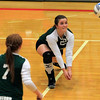 Record-Eagle/Jan-Michael Stump<br /> Forest Area's Kourtni Birgy (22) lunges for a dig in Monday's loss to Leland.