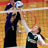 Record-Eagle/Jan-Michael Stump<br /> Leland's Noa Yaakoby (7) tries to block Forest Area's Meghan Gifford (7) in the second game of Monday's match.