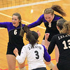 Record-Eagle/Jan-Michael Stump<br /> Leland players celebrate Monday's win over Forest Area.