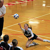 Record-Eagle/Jan-Michael Stump<br /> Forest Area's Danielle Johne (13) dives for a dig in Monday's loss to Leland.