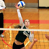 Record-Eagle/Jan-Michael Stump<br /> Forest Area's Tabitha Cecil (25) spikes the ball in Monday's loss to Leland.