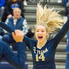 Record-Eagle/Brett A. Sommers Traverse City St. Francis' Kaylin Poole (14) reacts to a point scored during Tuesday's Division 3 quarterfinal volleyball match against Beal City at Cadillac High School. St. Francis won 3-1.
