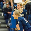 Record-Eagle/Brett A. Sommers Traverse City St. Francis' Brenna Poole (12) and Molly Mirabelli celebrate winning Tuesday's Division 3 quarterfinal volleyball match against Beal City at Cadillac High School. St. Francis won 3-1.