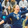 Record-Eagle/Brett A. Sommers Traverse City St. Francis' Maddie Connolly (8) reacts to a point scored during Tuesday's Division 3 quarterfinal volleyball match against Beal City at Cadillac High School. St. Francis won 3-1.