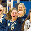 Record-Eagle/Brett A. Sommers Traverse City St. Francis' Maddie Connolly (8) reacts with teammates Kaylin Poole (14), Brenna Poole (back) and Ashlynn Coger (right) after a string of kills during Tuesday's Division 3 quarterfinal volleyball match against Beal City at Cadillac High School. St. Francis won 3-1.