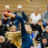 Record-Eagle/Brett A. Sommers Traverse City St. Francis' Kaylin Poole attacks the net during Tuesday's regional semifinal volleyball game against Rogers City in Gaylord. St. Francis won 3-1.