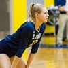 Record-Eagle/Brett A. Sommers Traverse City St. Francis' Brenna Poole awaits the Rogers City serve during Tuesday's regional semifinal volleyball game in Gaylord. St. Francis won 3-1.