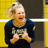 Record-Eagle/Brett A. Sommers Traverse City St. Francis' Brenna Poole reacts to a point scored by the Gladiators during Tuesday's regional semifinal volleyball game in Gaylord. St. Francis won 3-1.