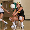 Record-Eagle photo/Jan-Michael Stump<br /> Traverse City Central's Laura Spencer bumps the ball during Tuesday's loss at Traverse City West.
