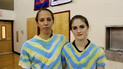 Postmatch interview with Loudoun County sophomore volleyball players Jenna Strange (left) and Erin Dancy (right).