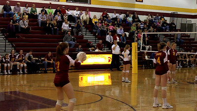 Juliane Hanna finished off the match with a powerful crosscourt kill as Loudoun County wins 3-1 to grab a share of the Dulles District volleyball title with Broad Run on the final day of the regular season. Broad Run and Loudoun County will  meet this Saturday at noon in a one-game playoff to decided the automatic regional bid.