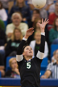 Dublin Coffman High School's #5 Lindsey Zitzke against Mount Notre Dame High Schools Volleyball team during their match-up in the OHSAA Division I Regional Volleyball Tournament held Saturday afternoon November 7, 2009 at the Hilliard Davidson HIgh School. Dublin won the tournament 3 games to 1. (© James D. DeCamp | http://www.JamesDeCamp.com | 614-367-6366)