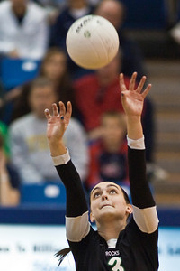 Dublin Coffman High School's #3 Baily Farthing against Mount Notre Dame High Schools Volleyball team during their match-up in the OHSAA Division I Regional Volleyball Tournament held Saturday afternoon November 7, 2009 at the Hilliard Davidson HIgh School. Dublin won the tournament 3 games to 1. (© James D. DeCamp | http://www.JamesDeCamp.com | 614-367-6366)