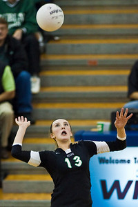 Dublin Coffman High School's #13 Alex Blair against Mount Notre Dame High Schools Volleyball team during their match-up in the OHSAA Division I Regional Volleyball Tournament held Saturday afternoon November 7, 2009 at the Hilliard Davidson HIgh School. Dublin won the tournament 3 games to 1. (© James D. DeCamp | http://www.JamesDeCamp.com | 614-367-6366)