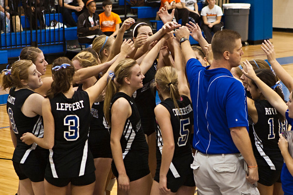 Bishop Ready High School's head coach Mike Kusan talks with his team during a time-out with Newark Catholic High School in their match-up in the Ohio High School Athletic Associations' 2010 Division III Central District Semifinal volleyball game held at Hilliard Bradley High School Wednesday night October 27, 2010.  (©2010 James D. DeCamp / http://www.OhioPhotojournalist.com / 614•462•8027)