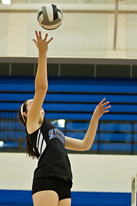 Bishop Ready High School's #12 Erin Sekinger tries to deflect the ball in her game against Newark Catholic High School in the Ohio High School Athletic Associations' 2010 Division III Central District Semifinal volleyball game held at Hilliard Bradley High School Wednesday night October 27, 2010.  (©2010 James D. DeCamp / http://www.OhioPhotojournalist.com / 614•462•8027)