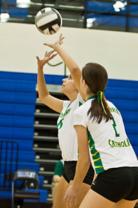 Newark Catholic High School's #6 Mia Carpenter sets the ball in her teams game against Bishop Ready High School in the Ohio High School Athletic Associations' 2010 Division III Central District Semifinal volleyball game held at Hilliard Bradley High School Wednesday night October 27, 2010.  (©2010 James D. DeCamp / http://www.OhioPhotojournalist.com / 614•462•8027)