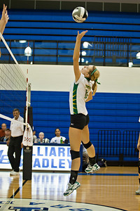 Newark Catholic High School's #10 Abby Litts goes up against Bishop Ready High School in their match-up in the Ohio High School Athletic Associations' 2010 Division III Central District Semifinal volleyball game held at Hilliard Bradley High School Wednesday night October 27, 2010.  (©2010 James D. DeCamp / http://www.OhioPhotojournalist.com / 614•462•8027)