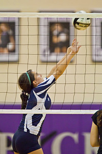 Bishop Hartley High School's #6 Natalie Briggs goes up against Jonathan Alder High School in their match-up in the Ohio High School Athletic Associations' 2010 Division II Central District Semifinal volleyball game held at Pickerington North High School Thursday night October 28, 2010. (© James D. DeCamp | http://www.JamesDeCamp.com | 614-367-6366)