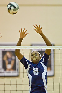 Bishop Hartley High School's #8 Brooke Betts tries to block the ball Jonathan Alder High School in the Ohio High School Athletic Associations' 2010 Division II Central District Semifinal volleyball game held at Pickerington North High School Thursday night October 28, 2010. (© James D. DeCamp | http://www.JamesDeCamp.com | 614-367-6366)