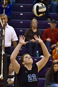 Hilliard Bradley High School's #22 Brandy Dennis sets the ball in play against Buckeye Valley High School in the Ohio High School Athletic Associations' 2010 Division II Central District Semifinal volleyball game held at Pickerington North High School Thursday evening October 28, 2010. (© James D. DeCamp   http://www.JamesDeCamp.com   614-367-6366)