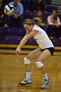 Hilliard Bradley High School's #2 Jennifer Espenschied returns the ball in play against Buckeye Valley High School in the Ohio High School Athletic Associations' 2010 Division II Central District Semifinal volleyball game held at Pickerington North High School Thursday evening October 28, 2010. (© James D. DeCamp   http://www.JamesDeCamp.com   614-367-6366)