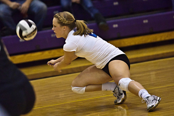 Hilliard Bradley High School's #2 Jennifer Espenschied returns the ball in play against Buckeye Valley High School in the Ohio High School Athletic Associations' 2010 Division II Central District Semifinal volleyball game held at Pickerington North High School Thursday evening October 28, 2010. (© James D. DeCamp | http://www.JamesDeCamp.com | 614-367-6366)