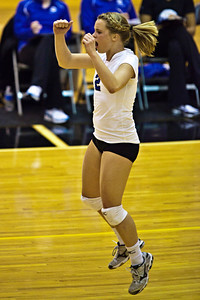 Hilliard Bradley High School's #2 Jennifer Espenschied reacts to a point scored against Buckeye Valley High School in the Ohio High School Athletic Associations' 2010 Division II Central District Semifinal volleyball game held at Pickerington North High School Thursday evening October 28, 2010. (© James D. DeCamp | http://www.JamesDeCamp.com | 614-367-6366)
