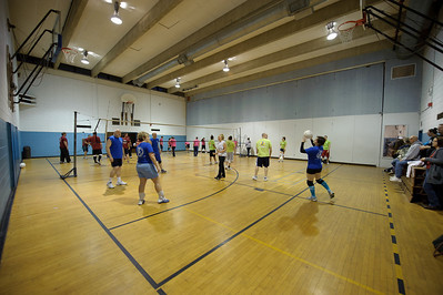 The final four teams are warming up. Sets in the Park (blue) earned the #1 seed with their 8-0 regular season record. Sets and Violence (pink) was #2 with 7-1.  Lime-O-Saurus Sex (lime) was #3 with 5-3.  And One Set Wonders (maroon) was #4 with 4-4.  Sets in the Park will play against One Set Wonders first.